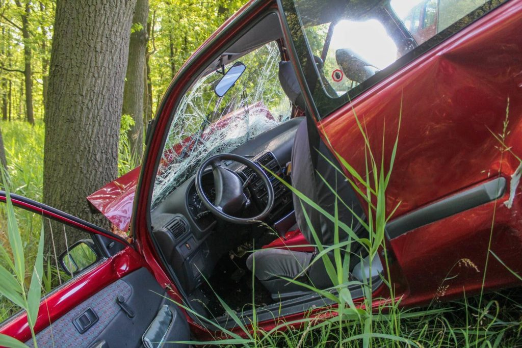 Red car crashed into a tree.